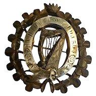 Antique Victorian big oak sterling harp & clover brooch