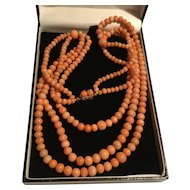 Antique salmon coral triple strand Festoon necklace gold clasp