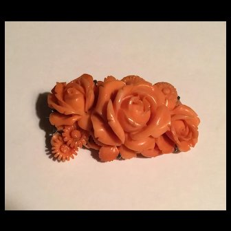 Antique Victorian carved coral brooch