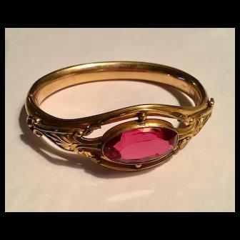 Antique gold filled pink stone hinged bracelet