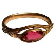 Antique gold filled pink stone hinged bracelet