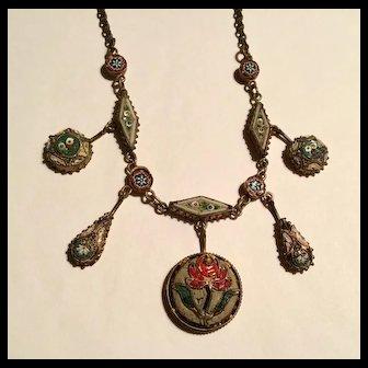 Antique micro mosaic Tulip motif festoon necklace