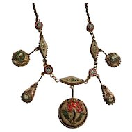 Antique micro mosaic Tulip motif festoon necklace