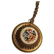 Vintage large micro mosaic floral pendant