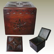 Hand Carved Solid Wooden Tea Caddy: Original Foil Silvered Lining