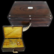 Rosewood Sewing Box. Original Fittings & Silk. Some Tools