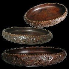 Black Forest Fruit Bowl. Oval Shape, Solid Hand Carved Wood