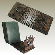 Antique Black Forest Carved Book Slide