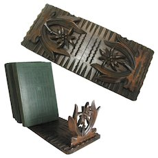 Antique Black Forest Carved Book Slide