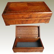 Inlaid Wooden Box: Walnut Parquetry Veneer: Jewelry Box 1930s
