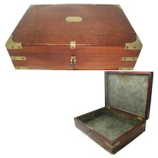 Georgian Mahogany Campaign Box; Brass Mounted. Original Marbled Paper