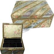 19th Century French Jewelry Box. Original Fabric Covering & Silk