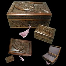 Two Carved Wooden Boxes. Antique Frisian Folk Art