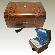 Antique Parquetry Walnut Sewing Box. Tunbridge Ware Style C1880.