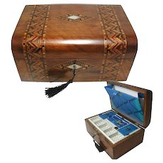 Antique Parquetry Walnut Sewing Box. Tunbridge Ware Style C1880.