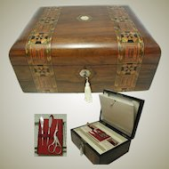 Walnut Antique Box. Inlaid. Fitted Interior