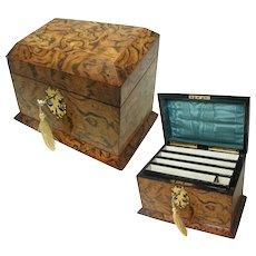 Superb Antique Stationery Box: Burr Wood. Silk Interior