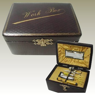 Miniature Work Box / Neccesairre With Tools
