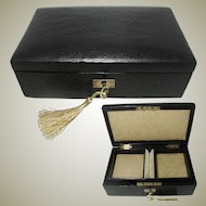 Leather Jewelry Box. All Original. Early 20th century