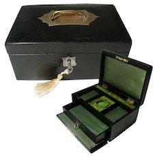 Antique Black Leather Jewelry Box