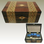 19th c English Walnut Box:Inlaid Parquetry Banded
