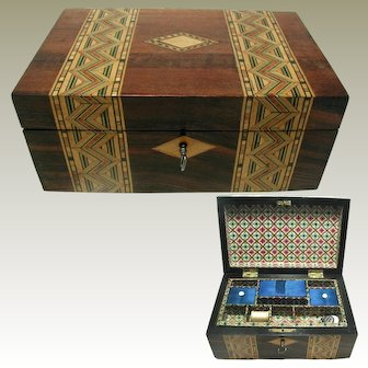 19th c English Walnut Box:Inlaid Parquetry Banded