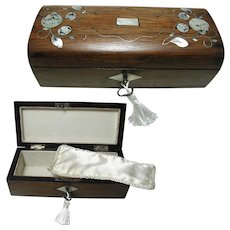 French Rosewood Box: mother of pearl inlay:late C19th