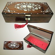 French Glove or Jewelry Box: Mother of Pearl Inlay: Late C19th