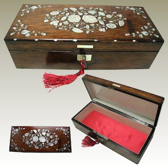French Rosewood Box: Mother of Pearl Inlay: Late C19th