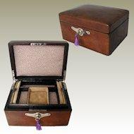 Leather Jewelry Box. Art Deco 1920/30s. Interior Tray & Key