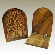 Antique Bookends. Italian Sorrento Ware: Olive Wood with Inlaid Burr Wood Veneer