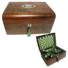 Victorian Walnut Box. Padded Silk Lined. Large Size