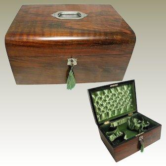 Victorian Walnut Box. Padded Silk Lined. Large Size