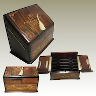 Antique Inlaid Marquetry Veneered Stationary Box