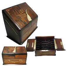Antique Inlaid Marquetry Veneered Stationary Box