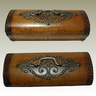 French Palais Royal Jewelry Box. Inlaid Satin wood with Cut Steel Studs.
