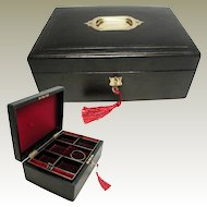 Antique English Black Leather Jewelry Box: Late Victorian / Edwardian