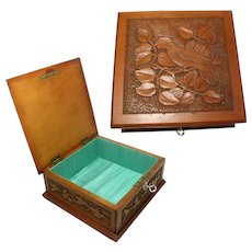 Carved Folk Art Jewellery Box. Continental. Bird and Foliage Carving