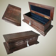 Black Forest Hand Carved Walnut Glove Box. 19th Century