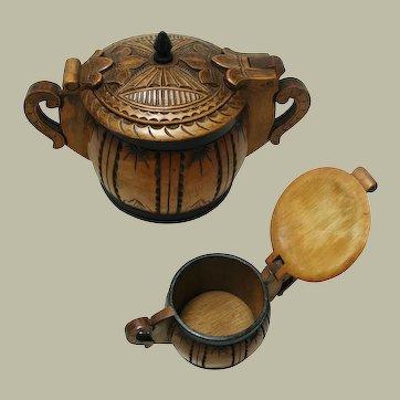 Norwegian / Scandinavian Pot or Small Tine Box. Beautiful Hand Carved Folk Art