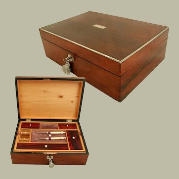 Antique Work Box: European 19th Century: Child's Box with Fittings