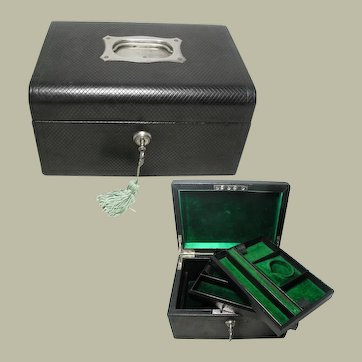 Large Black Leather Jewelry Box: English:Early 20th Century. Good Quality. All Original Interior