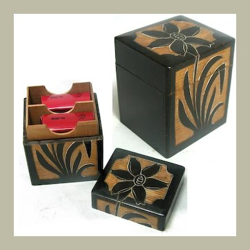 Hand Made Carved Wooden Miniature Playing Card Box with Makers Mark: Early 20th Century Arts & Crafts / Folk Art Treen