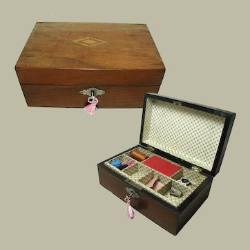 Small Antique Sewing Box, Child's Box. Walnut Veneer. Original lining and tray.