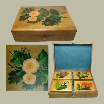 Games Box. Hand Painted. 19th Century Belgium Spa Ware