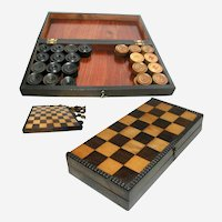 Games Box with Checkers / Draughts Circa 1830: Opens to a Chess Board
