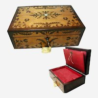 Antique Jewelry Box;. Beautiful Inlaid Marquetry