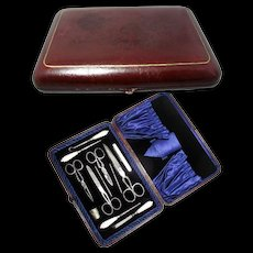 Antique MOP Sewing Set in Leather Case Circ. 1890 - Red Tag Sale Item