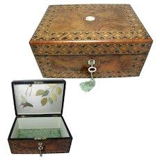 Antique Inlaid Box.  Figured Walnut 1870s. Victorian