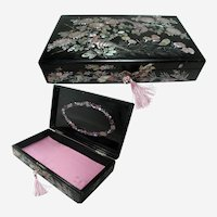 Antique Korean Lacquered Box. Mother of Pearl Inlay